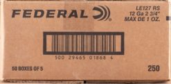 "Federal LE127RS 12ga 2-3/4"" 1oz. Hydra-Shok HP Tactical Rifled Slug 250 round case"
